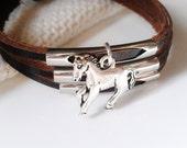 Horse Bracelet Leather Women Guy Gift Man Bracelet Horse Jewelry - B152