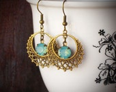 Mint Green Opal Rhinestone Filigree Earrings, Brass, Hoop, Dangle