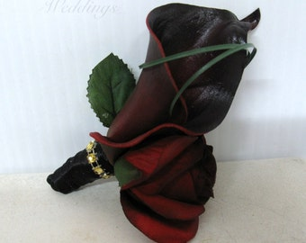 Wedding boutonniere, Calla lily black bacarra red rose Grooms boutonniere