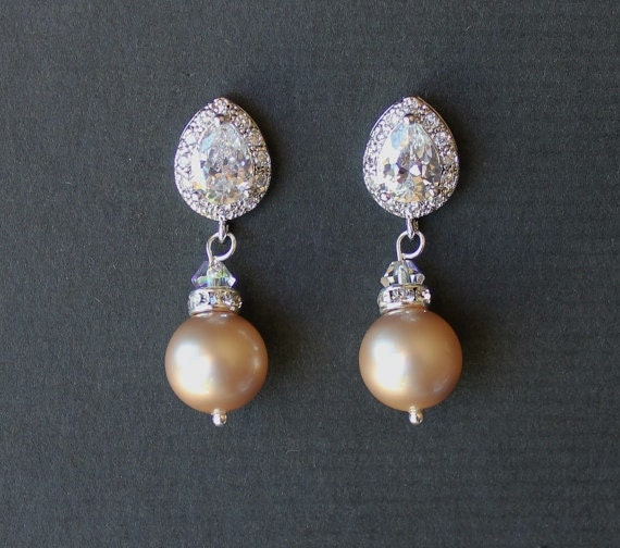Champagne blush pearl bridal earrings almond blush by for Jewelry for champagne wedding dress