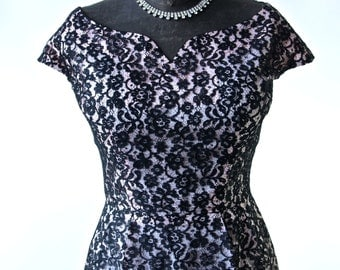 Vintage Black Lace Dress Over Pink 50's Wiggle Dress With Sweetheart Neckline 27 inch waist