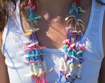 Vintage bead and Shell Beaded Necklace