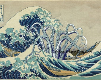 TENTACLES Print HOKUSAI Great WAVE Off Kanagawa Cthulhu Squid Japan Parody