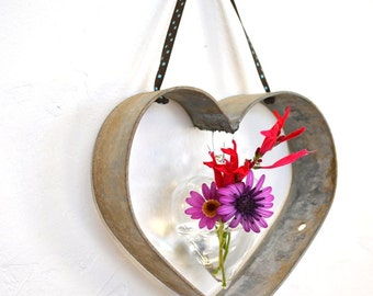 "RING ART - ""Pragtige"" - Small Welded Wine Barrel Ring Heart w/Vase - 100% recycled"