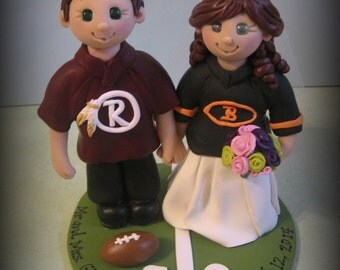 Wedding Cake Topper, Custom Cake Topper, Bride and Groom, Sports Theme, Football, Polymer clay, Personalized