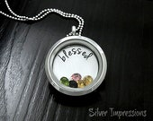 Floating Locket / Blessed Locket / Grandma Mom Necklace / Hand Stamped Jewelry