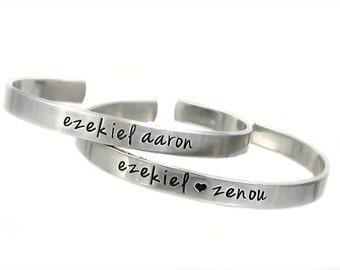 Personalized Cuffs - Aluminum Cuff Bracelet - Hand Stamped Jewelry