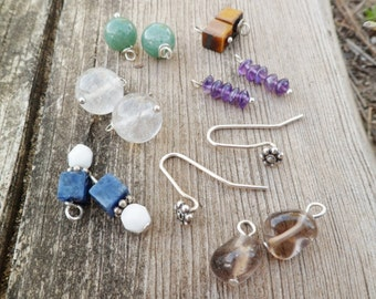 6 Pairs. Interchangeable Earrings. Sterling Silver Dangle Earrings. Green Quartz, Amethyst, Sodalite, Quartz, Tiger Eye, Smoky Quartz.