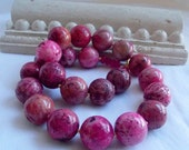 Rare Pink Coral Fossil Necklace Big Chunky Hot Pink Fossil Coral Fuschia Strand Statement Necklace Chunky Stone Beaded Necklace