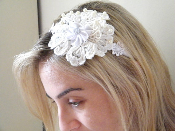 Wedding  fascinator, Bridal Lace Headband, Vintage headband, Shabby chic  headpiece,  Wedding hair Accessory, Bridal head piece.