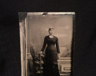 Tintype of a Prim and Proper Young Woman - Antique Photo