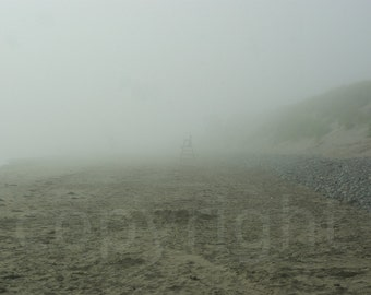 Fog Solitude Lifeguard Chair on the Beach Foggy Nautical Photography Photo Picture