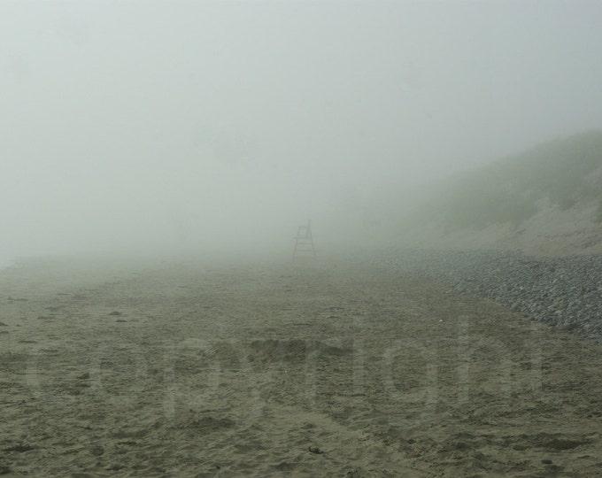 Print or Blank Greeting Card, Atlantic Ocean, Fog, Solitude, Lifeguard Chair on the Beach, Foggy, Nautical, Photography, Gift Idea