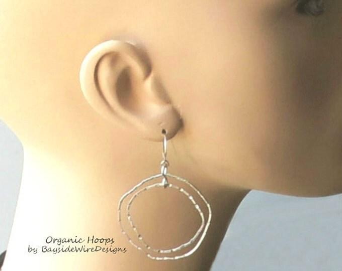 Hoop Earrings, Organic, Sterling Silver, Handmade Earrings, Forged, Artisan, Handmade Jewelry, Gift Idea, Bohemian Jewelry