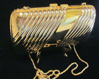 Vintage Pillow Purse Gold And Silver 1940s Clutch Purse Shoulder Purse Excellent Condition