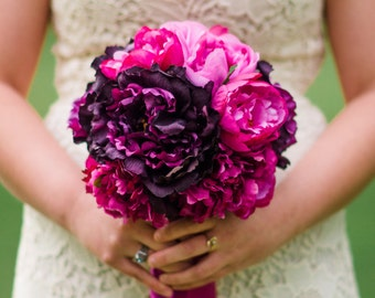 Fuchsia and Purple Peony Bouquet - Silk Wedding Bouquet