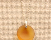 Orange Yellow Sea Glass Necklace Round Pendant Matte Round Coin Sterling Silver