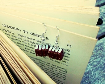 Encyclopedia Earrings, Red Miniature Book Earrings (Made to Order) Book Jewelry by Coryographies