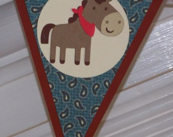 READY To SHiP Pony Birthday Banner Horse  Birthday Decoration Cowboy Party Decoration 1st Rodeo Party Banner Western Birthday