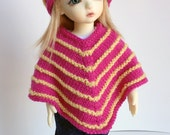 Handknit Poncho and Hat Set for YOSD BJD - Hot Pink / Yellow