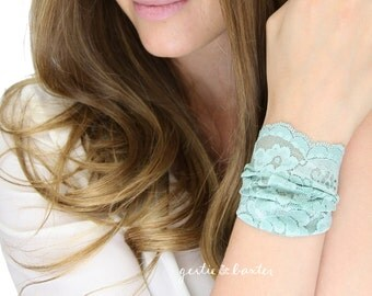 MINT LACE CUFF, thick wide lace jewelry, lace arm band, mint arm band
