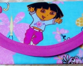 Dora The Explorer Fabric Wallet 1- Jumping Dora 1- Sitting Dora 1- 3x2 coin purse, Money gift wallet