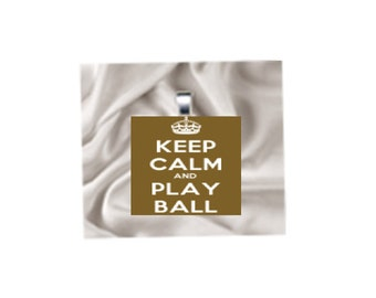 Scrabble Tile Pendant Necklace Keep Calm and Play Ball