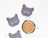 Cute Kitty Cat Coasters - Set of 4 - Gray and White