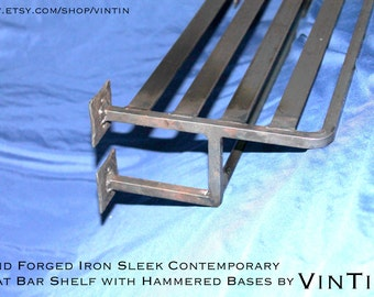 Hand Forged Iron Sleek Contemporary Train Rack with Hammered Bases by VinTin
