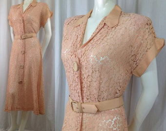 Vintage 1940s lace dress Styled by Well Made peach Grosgrain trim belt