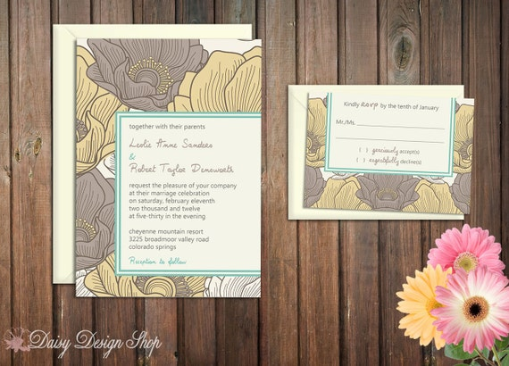 Wedding Invitation - Floral Sketch in Gray and Yellow - Invitation and RSVP Card with Envelopes