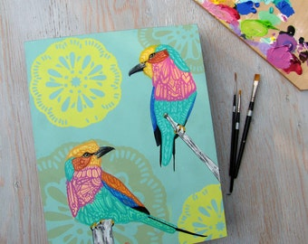 Lilac Breasted Roller Zentangle Original Painting