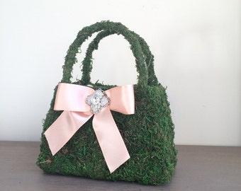 Moss Basket, Moss Flower Basket, Flower Girl Basket, Green Moss Basket, Garden Basket, Garden Wedding, Flower Girl Purse, Wedding Basket