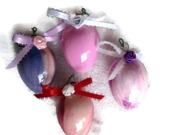 OOAK Handmade Painted Glass Ornaments Set of 4 Pink and Purple with Red Bulbs with Ribbon Roses