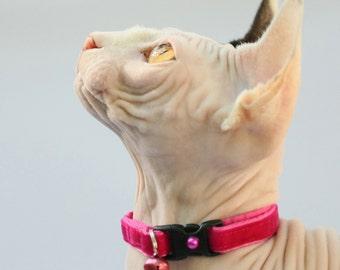 Soft Velvet Cat Collar - Hot Pink - Kitten or Large Size