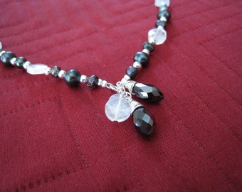 Black Freshwater Pearl and Moonstone Necklace with Wire Wrapped Crystal - Adjustable - MIDNIGHT