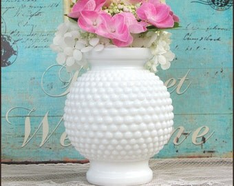 Vintage Milk Glass Hobnail Wedding Centerpiece/ Milk Glass Vase / Hobnail Vase