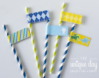 Kentucky Derby Birthday - horse racing - jockey themed - Straw Flags - Instant Download -Printable Straw Flags // DER -04
