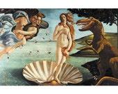 Digital Print, Birth of Venus, Tyrannosaurus Rex, Dinosaur Art, Raptor, Botticelli, renaissance, classical art, geekery, alternate histories