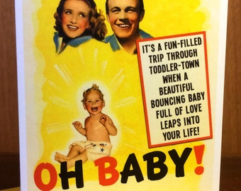 New Baby, movie poster, New Baby Card, 1940s, retro card, Geekery, Alternate Histories, Birth Announcement, Baby