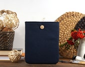 60% OFF Winter SALE Blue Linen iPad Case with button closure. Padded Cover for iPad 1 2 3 4. iPad Sleeve Bag.