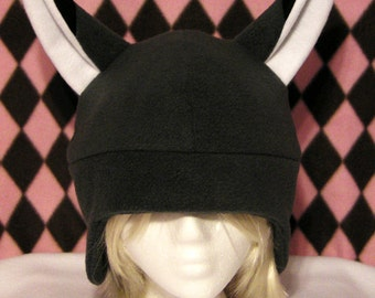 Kitsune Fox Grey Fleece Hat - MADE TO ORDER