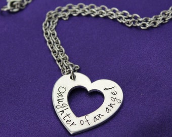 Daughter of an angel hand stamped memorial necklace