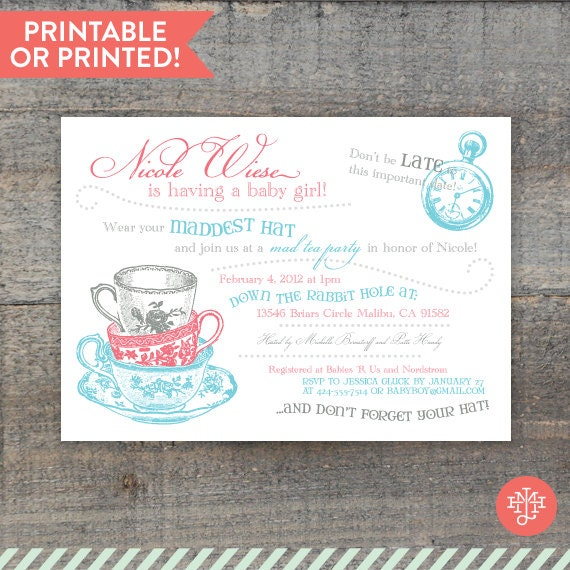 alice in wonderland baby shower invitations by jillhartline