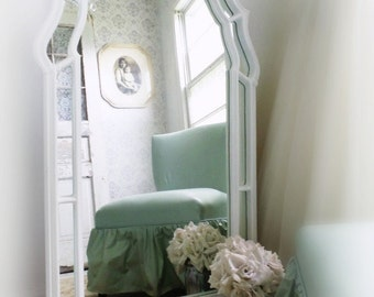 C R E S T  ...White Mirror Shield Shape Chic French Cottage Nordic Nursery