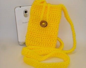 Phone Sling Cozy Carry Pouch - Bright Yellow Freesia with Natural Wood Button Closure