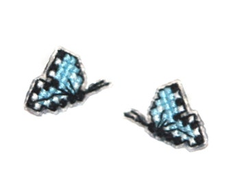 New Low Price! Cross Stitched Butterfly Earrings