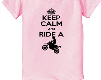 KEEP CALM and ride a dirt bike baby infant Bodysuit dirtbike bodysuit - keep calm bodysuit - dirt bike infant bodysuit -