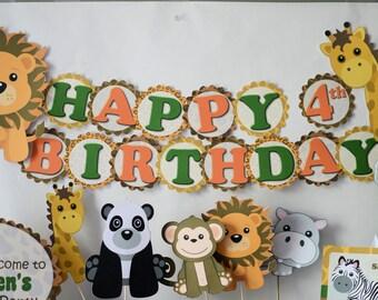ANIMAL SAFARI Baby Shower, Birthday, Party BANNER Decoration