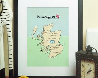 I Love You in Scotland // Typographic Print, UK Map, Chart, Giclee, Modern Baby Nursery Decor, Illustration, European Travel Theme, Digital